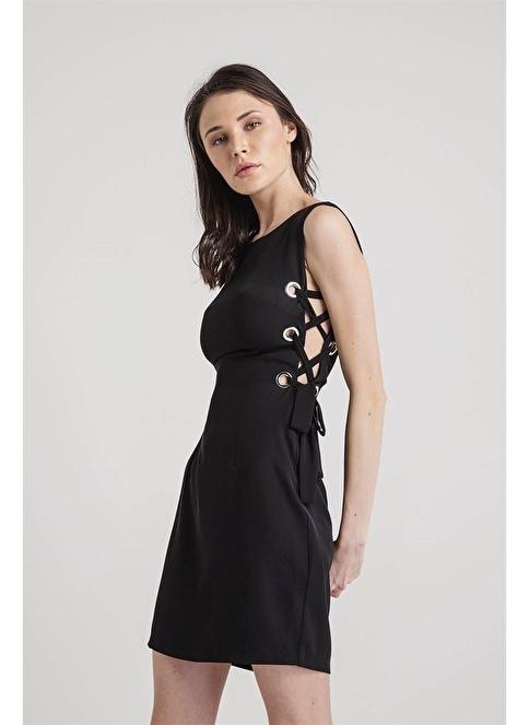 Rue Kolsuz Mini Elbise Siyah